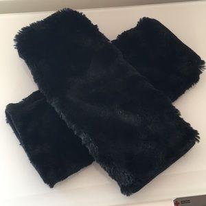 Super Soft Black Faux Fur Leg Warmers